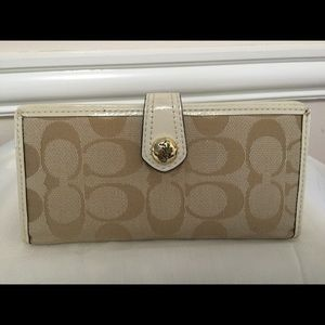 White Coach Wristlet/clutch with White leather
